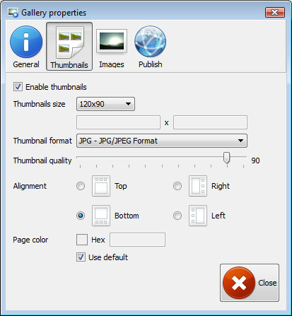 Properties window : Image Resize Flashslideshow