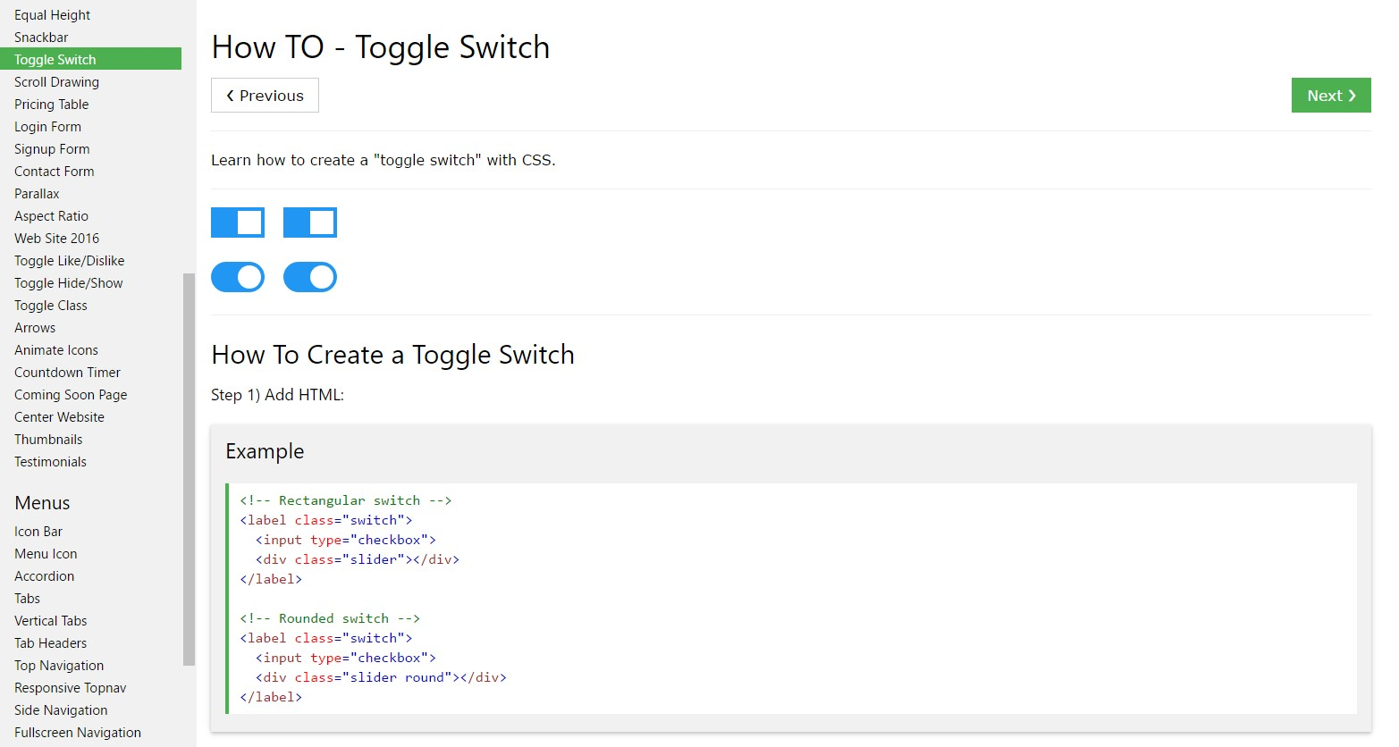 How you can  establish Toggle Switch