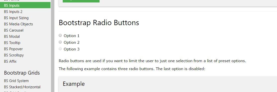 Bootstrap Radio button -  training